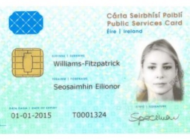 A mock-up of the card from the Department of Social Protection