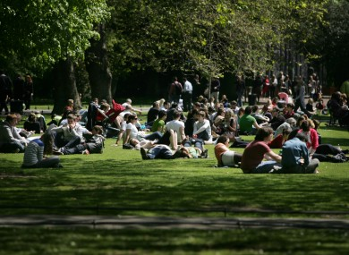 People enjoying the sunny weather in Dublin on Monday, when temperatures hit 19°C. They could reach 24°C later this week.
