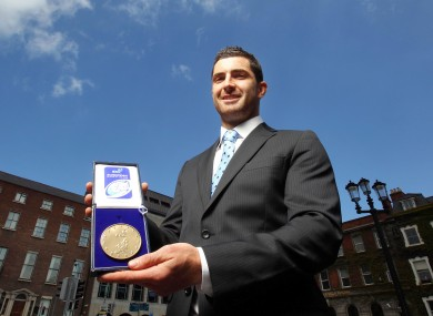 Rob Kearney with his ERC player of the year medal 2012