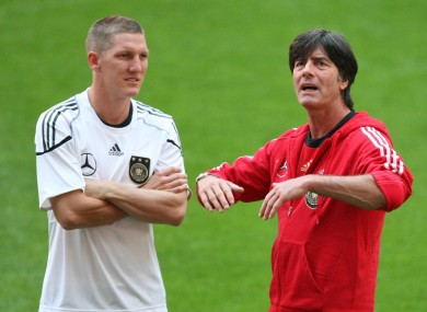 Bastian Schweinsteiger and Germany coach Joachim Loew.