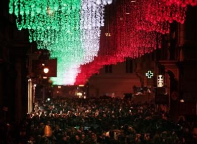 Lights on Rome's Vida Del Corso in December 2011.