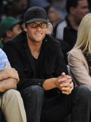 Tom Brady attends a recent LA Lakers basketball game.