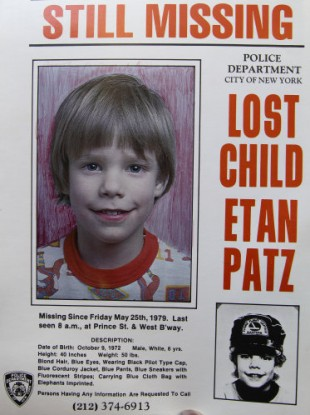 One of the posters appealing for information about Etan Patz's disappearance in 1979.