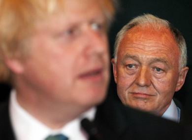 Boris Johnson and Ken Livingstone at the election count last night