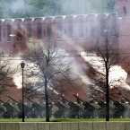 Cannons fire a salute outside Moscow's Kremlin wall after an inauguration ceremony of president elect Vladimir Putin. (AP Photo/Sergey Ponomarev)