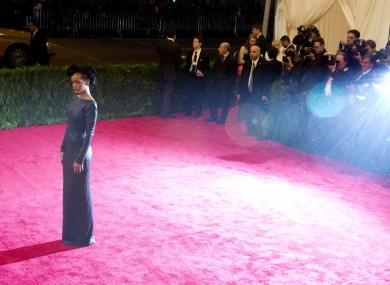 Rihanna arrives to the Met Ball last night