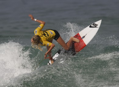 Australia's Laura Enever competes in round three of the Association of Surfing Professionals, ASP, Billabong Rio Pro women's surfing competition at Barra da Tijuca beach in Rio de Janeiro today.
