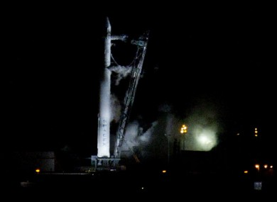 The SpaceX Falcon9 rocket sitting on the launchpad this morning.