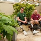 Dave Henson (left) and Craig Gadd in the garden created by military personnel from the Defence Medical Rehabilitation Centre Hedley Court. (Dominic Lipinski/PA Wire)