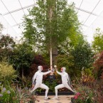 Team GB's Olympic Men's Sabreurs Alex O'Connell (left) and James Honeybone put on a display of fencing in the 'Duel and the Crown' garden. (Dominic Lipinski/PA Wire)