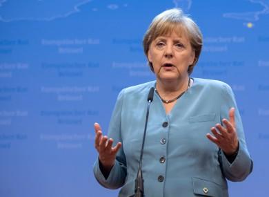 Angela Merkel speaking in Brussels today