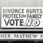 1986: Anti-divorce posters at the Father Mathew Hall on polling day for the Divorce Referendum on 26 June.   Image: Photocall Ireland