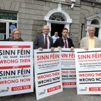 Pictured (LtoR) Deputy Dominic Hannigan, Ciara Conway, Jed Nash, John Lyons, Kevin Humphreys TD and Eimear Costello stand with Labour Posters outside the Sinn Fein shop in Dublin today.   Photo: Sam Boal / Photocall Ireland