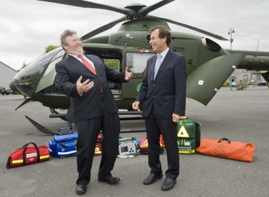 Ministers James Reilly and Alan Shatter launch the pilot Emergency Aeromedical Service today in Athlone