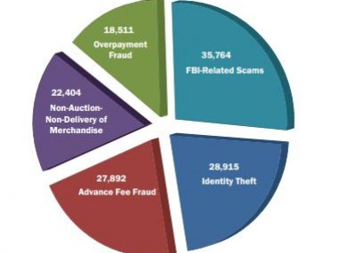 Top 5 reported cyber crime types in USA
