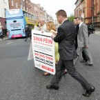 The Labour party launched a referendum poster campaign on 25 May, which they claim highlights Sinn Feins track record of getting it wrong when it comes to major decisions. They launched the campaign outside the Sinn Féin shop on Parnell Sq  Photo: Sam Boal / Photocall Ireland
