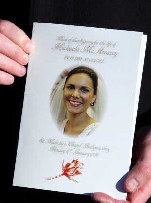 The order of service for Michaela McAreavey's funeral mass in January 2011