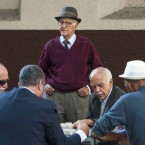 A group of retired denizens playing domino at Largo da Catedral Metropolitana, traditional site for senior citizens, where they often go to play and chat.   Image: Caio Cezar