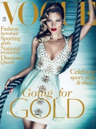 Kate Moss on the cover of the June edition of British Vogue