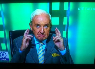 Bill O'Herlihy crosses his fingers for an Irish win.