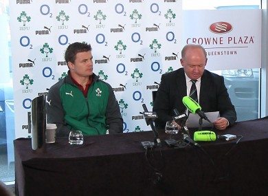 Brian O'Driscoll and Declan Kidney at Thursday's team announcement.
