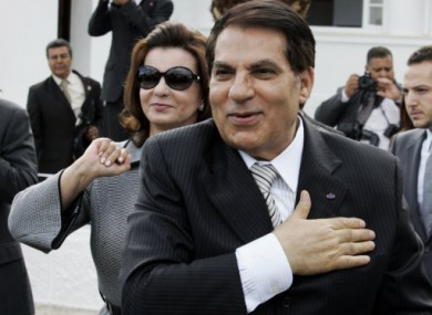 2009 file photo of Zine El Abidine Ben Ali and his wife Leila.