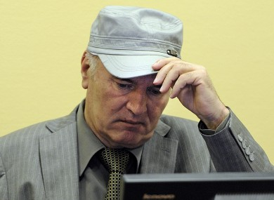 Ratko Mladic in the court room earlier this month