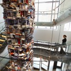 Get everyone to bring over the books they no longer need. Pile them on top of each other. Ta-daa: A literary tower. (Alternatively, you could do something good with it, and donate them all to charity). Pic: AP Photo/Jacquelyn Martin.
