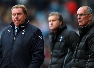Former Tottenham Hotspur manager Harry Redknapp (left), assistant manager Kevin Bond (centre) and first team coach Joe Jordan.
