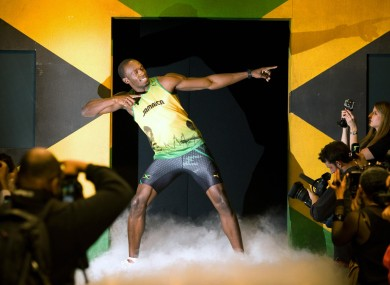 Usain Bolt wearing the 2012 Jamaican Olympic kit during a photocall recently.