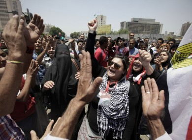 Protesters in Tahrir Square earlier today.