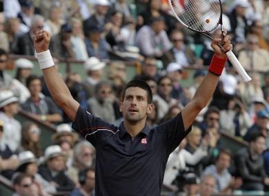 Djokovic celebrates his victory.