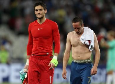 Franch keeper Lloris with team-mate Franck Ribery.