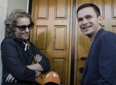 Russian opposition activist and television host Kseniya Sobchak and opposition leader Ilya Yashin ahead of their meeting with the investigation committee today.