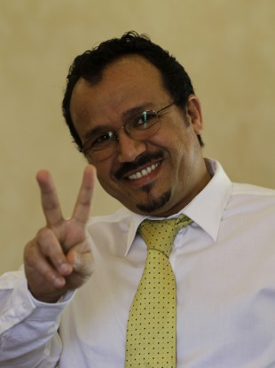 Dr Ali Al Akri pictured today after hearing news of his sentence being cut.