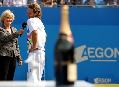 Nalbandian answers Sue Barker's questions after the default decision.
