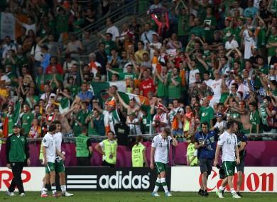 The Irish team following their match against Italy