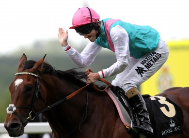 Tom Queally celebrates his victory on Frankel in the Queen Anne Stakes today.