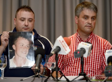 James Nolan's brother-in-law Gareth Dudley and uncle Pat Nolan speak to reporters in Bydgoszcz last night.