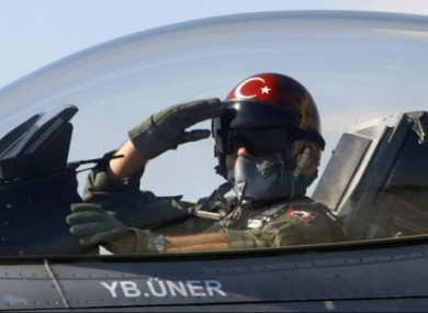 File photo of a Turkish pilot taking off from an air base in Konya, Turkey..