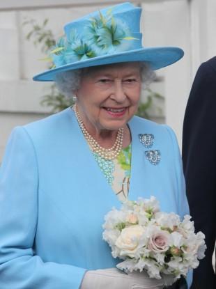 Queen Elizabeth II in Oxfordshire yesterday.