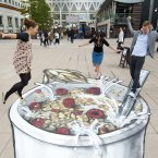 This PR whizz in London for Jordan's granola caused a stir through 3D artwork which made it look like you could jump into the giant illustration of a bowl of cereal. (Matt Crossick/PA Wire)