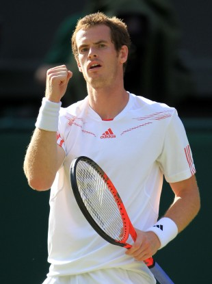 Andy Murray celebrates defeating Croatia's Ivo Karlovic.