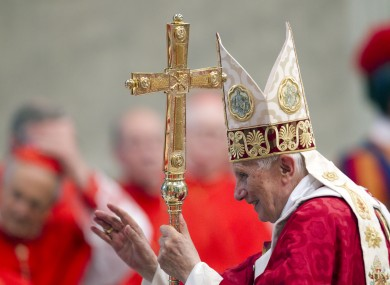 Pope Benedict after celebrating mass in St Peter's Basilica in Rome earlier today