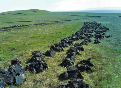 File photo of peat cuttings: the EU habitats directive demands that certain boglands be protected from turf-cutting.
