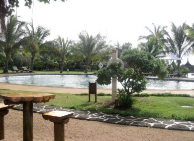 A general view of the Banyon poolside restaurant at the Lux hotel. Jurors visited the scene of the crime today.