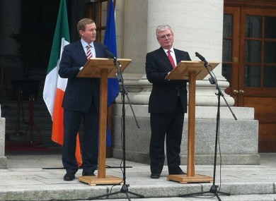 Kenny and Gilmore speaking outside Government Buildings today.