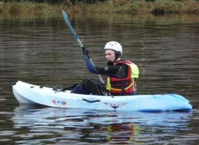 Alan Magner in training for the 20 hour charity kayak