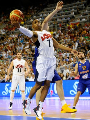 The USA's Russell Westbrook jumps for the ball during an exhibition match against Spain