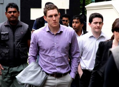 John McAreavey outside the Supreme Court in Port Louis, Mauritius during the murder trial